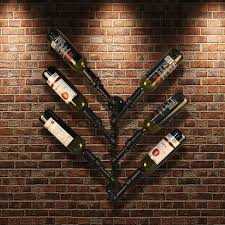 black ikayaa industrial 6 bottle wall mount wine rack lovdock com