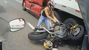 video monster truck accident stunningly violent motorcycle and semi truck crash at