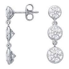 dangle diamond earrings diamond earrings three graduated drop diamond bezel