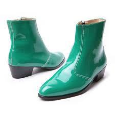 s zip boots s synthetic leather glossy green side zip high heel ankle