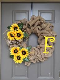 burlap sunflower wreath sunflower wreaths on doors simple but attractive sunflower