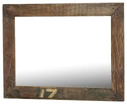 lucky 17 rustic large reclaimed wood wall mirror w simple frame