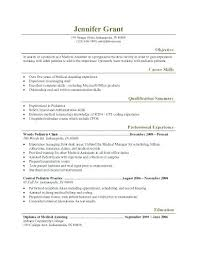 Resume Template For Secretary Sample Resume For Medical Secretary Pediatric Medical Assistant