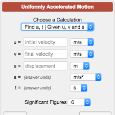 uniformly accelerated motion calculator