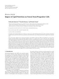 impact of lipid nutrition on neural stem progenitor cells pdf