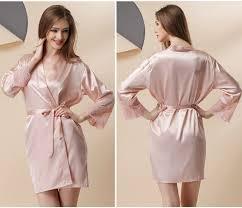 aliexpress com buy women nightwear long robe pink silk robe