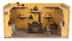 puppenküche kl puppenküche um 1900 rechteckiges holzgehäuse umlaufend