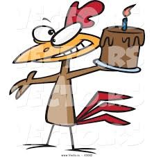 vector of a happy cartoon chicken holding a chocolate birthday