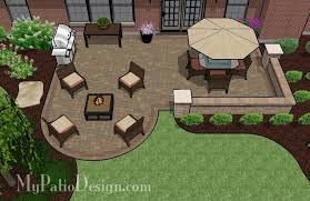 Paver Patios Designs Dreamy Paver Patio Design With Seat Wall Plan