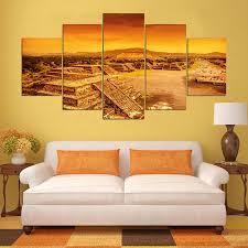 5 panels maya pyramid canvas painting landscape picture print wall