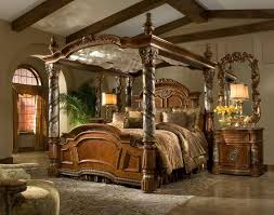 bedroom victorian style brown glaze wooden canopy bed with carved