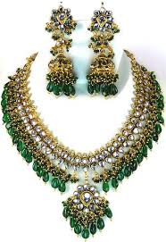 green necklace set images Green bridal kundan necklace set with chandelier earrings jpg