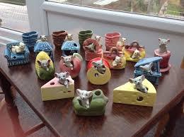 vintage mouse cat ceramic ornaments reto kitsch x18 mouse