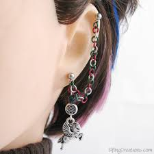 earring that connects to cartilage cartilage chain earrings elfling creations online store