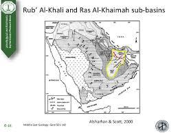 rub al khali map rub al khali and ras al khaimah sub basins saudi arabia uae