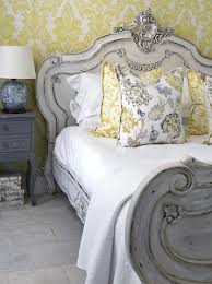Teal Yellow And Grey Bedroom Bedroom Gray Painted Bed With Yellow Damask Wallpaper White