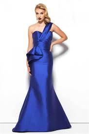 one shoulder long royal blue satin formal occasion evening dress