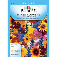 flower seed packets burpee mixed flowers sun and shade mix seed packet walmart