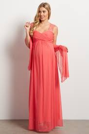 maternity evening wear coral lace accent chiffon maternity evening gown