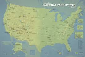 us map states national parks 417 national park system units map 24x36 poster best maps
