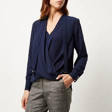 navy blouse lyst river island navy sleeve pussybow wrap blouse in blue