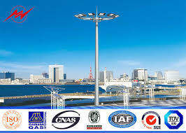 parking lot lighting manufacturers galvanized 30m high mast pole with winch for parking lot lighting