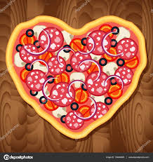 Wooden Table Background Vector Italian Pepperoni Pizza In The Heart Shape On Wooden Table