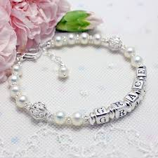 name bracelets pearls and silver lace name bracelets with filigree silver