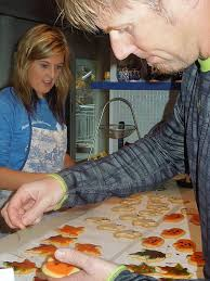 family fun making colorful halloween cookies