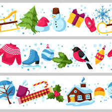 new year items seamless borders with winter objects merry christmas happy new