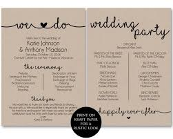 Kraft Paper Wedding Programs Ceremony Program Template Printable Wedding Programs Ceremony