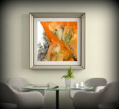 living room decor square wall decor orange wall art dining room