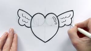 how to draw a cartoon love heart with wings for valentine u0027s day