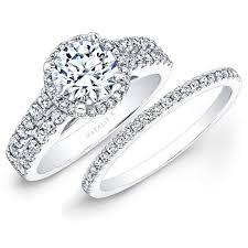 Engagement Ring With Wedding Band by 14k White Gold Prong Two Row Halo White Diamond Bridal Set