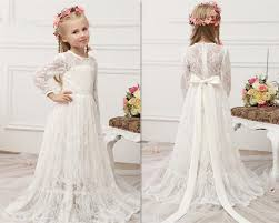 vintage communion dresses new vintage lace flower girl dresses sleeves floor
