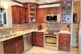 Cherrywood Kitchen Cabinets L Shape Kitchen Decorating Design Using Red Cherry Wood Kitchen