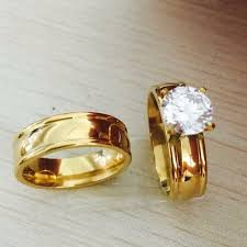 real wedding rings images Large cz gold filled real love couple ring wedding rings jpg