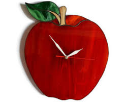 Apple Home Decor Apple Clock Etsy