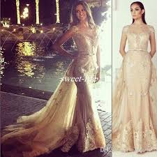 zuhair murad gold evening dresses over skirts lace illusion short
