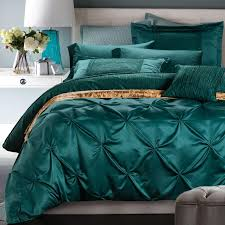 Silk Duvet Cover Queen Doona Cover Set Twin Full Queen Luxury Silk Green Bedding Set