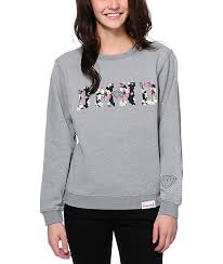supply co sweaters supply co dmnd floral fill grey crew neck sweatshirt zumiez