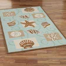 Sea Themed Bathrooms by Sea Shell Hooked Wool Area Rugs