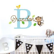 personalised name initial monkey wall decal sticker sirface graphics personalised name initial monkey wall decal sticker