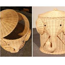Wicker Clothes Hamper With Lid Elephant Wicker Laundry Hamper Woven Basket Clothes Bin With Lid