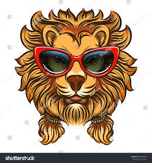 glam lion red sunglasses vector summer stock vector 650284498