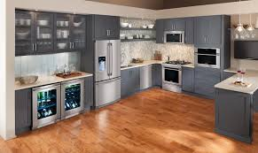 appliance adorable glossy wood floor with grey cabinet kitchen