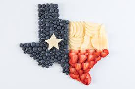Texaa Flag Food Art Featuring Fruit Arranged To Look Like The Texas Flag In