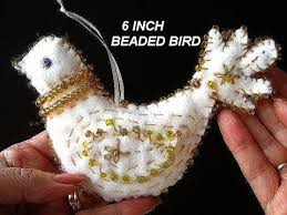 felt beaded bird ornament decoration free pattern diy