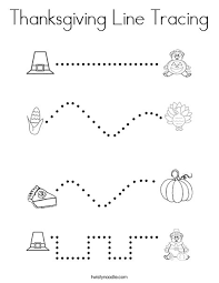 thanksgiving line tracing coloring page twisty noodle