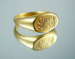rings with initials monogram signet ring gold signet ring personalized ring